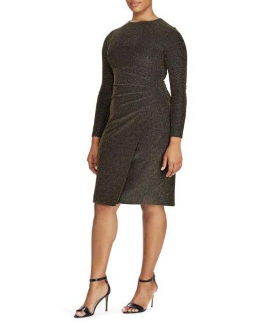Ralph Lauren   Black Lauren Metallic Knit Faux Wrap Dress   Lyst