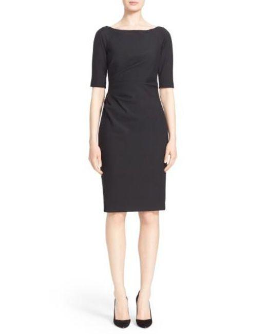 Lela Rose - Black Side Ruched Stretch Twill Dress - Lyst
