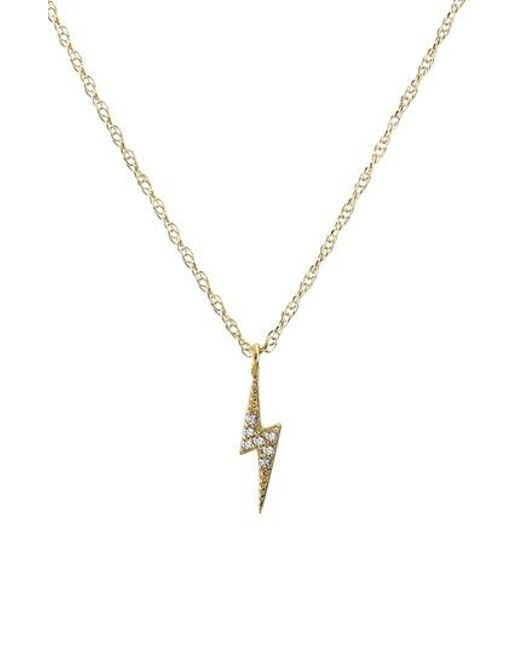 Kris Nations | Metallic Pave Lightning Bolt Charm Necklace | Lyst
