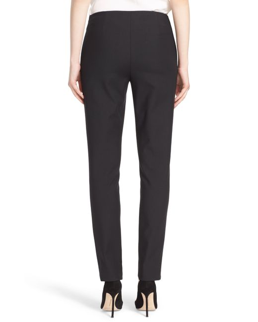 Lela Rose Black Catherine Stretch Twill Ankle Pants