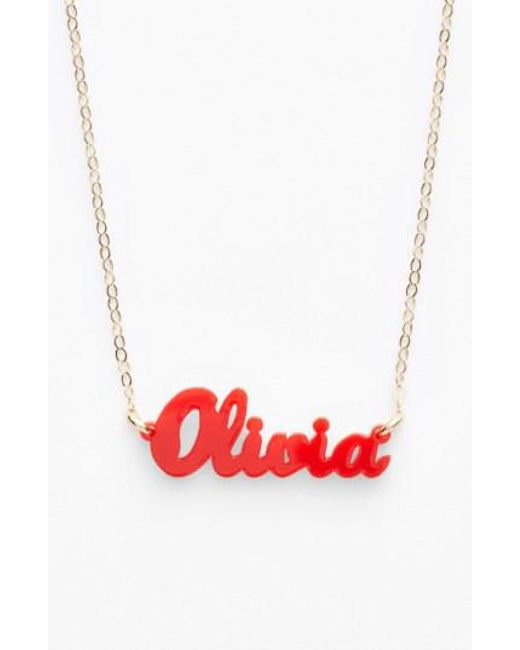 Moon & Lola - Red 'script Font' Personalized Nameplate Pendant Necklace - Lyst