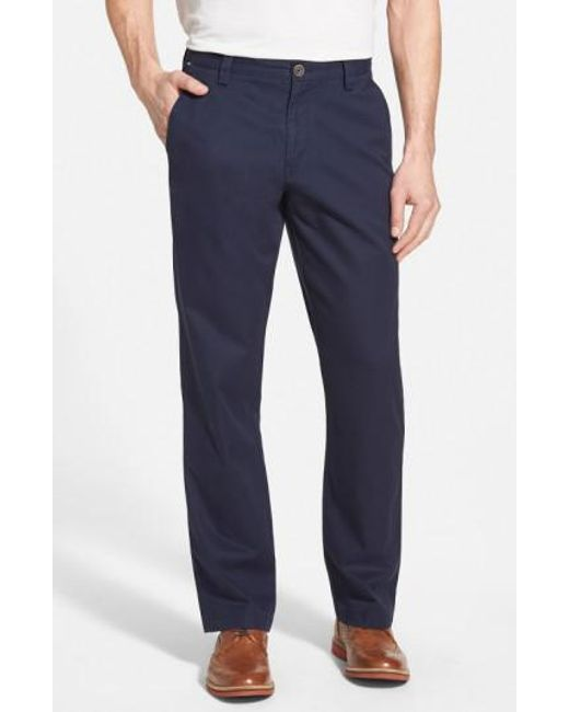 Cutter & Buck | Blue 'beckett' Straight Leg Washed Cotton Pants for Men | Lyst