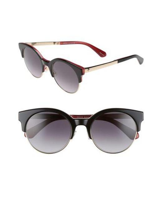 Kate Spade | Black Kaileen 52mm Semi-rimless Cat Eye Sunglasses | Lyst