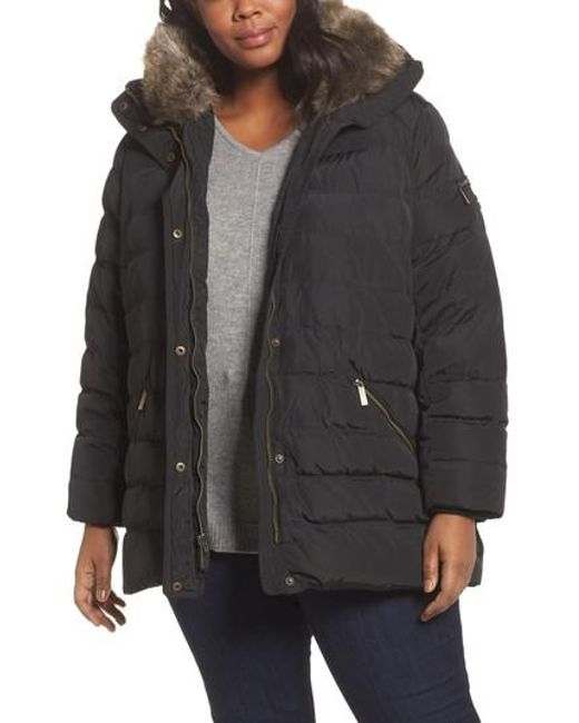 MICHAEL Michael Kors | Black Down & Feather Hooded Coat With Faux Fur Trim | Lyst