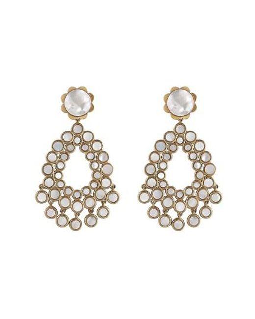 Asha Metallic Flower Chandelier Earrings Lyst
