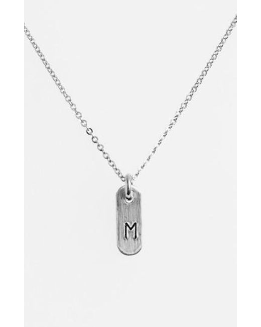 Nashelle | Metallic Sterling Silver Initial Mini Bar Necklace | Lyst