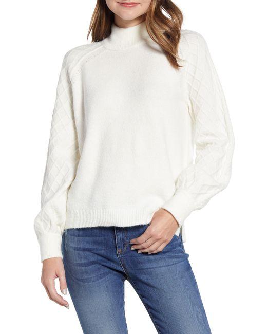 Caslon White Caslon Mix Stitch Turtleneck Sweater