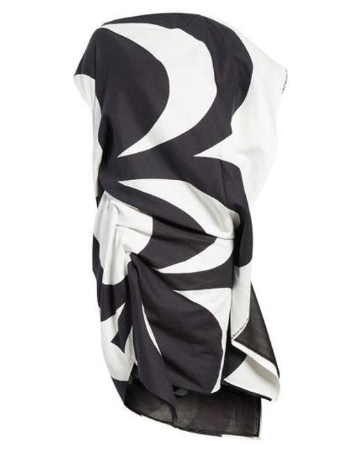 Buy Cheap Inexpensive Fashion Style Cheap Online optical print asymmetric dress - Black Junya Watanabe 4gnDku8j