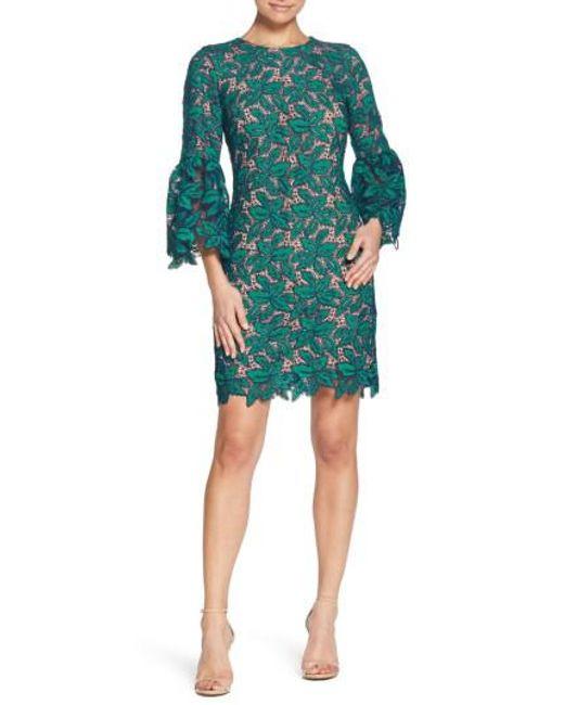 Dress the Population - Green Paige Crochet Shift Dress - Lyst