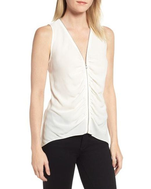 Trouvé - White Zip Shirred Top - Lyst