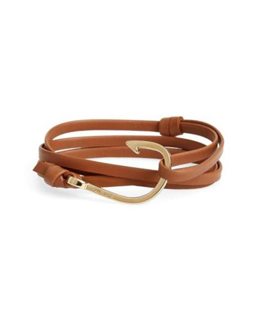 Miansai | Brown Gold Hook Leather Bracelet for Men | Lyst