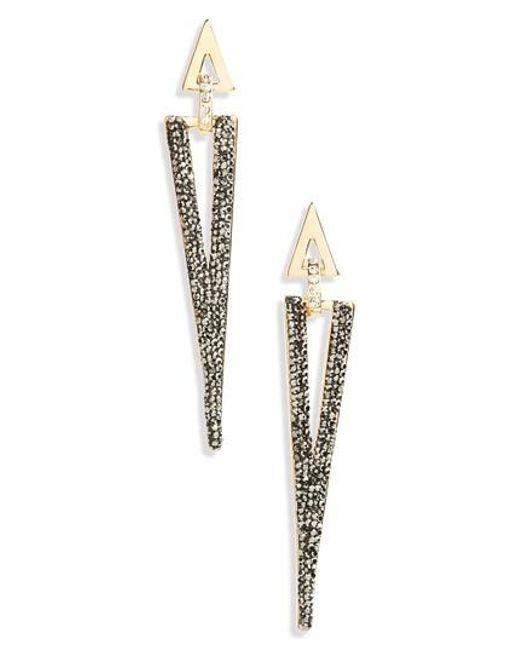 Panacea   Gray Linear Luxe Triangle Earrings   Lyst
