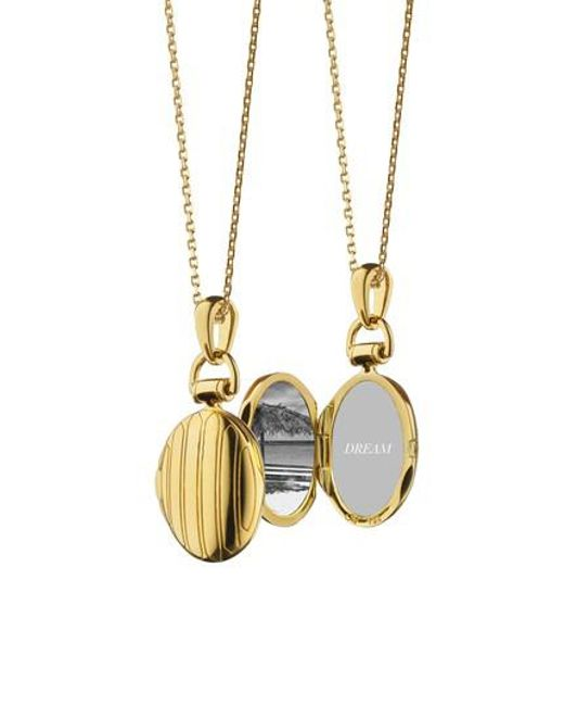 Monica Rich Kosann - Metallic Pinstripe Locket Necklace - Lyst