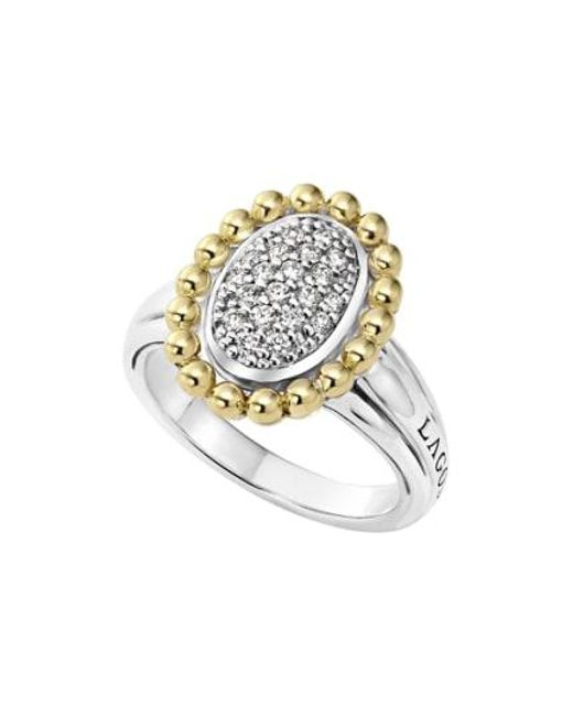 Lagos - Metallic Diamond Caviar Oval Ring - Lyst