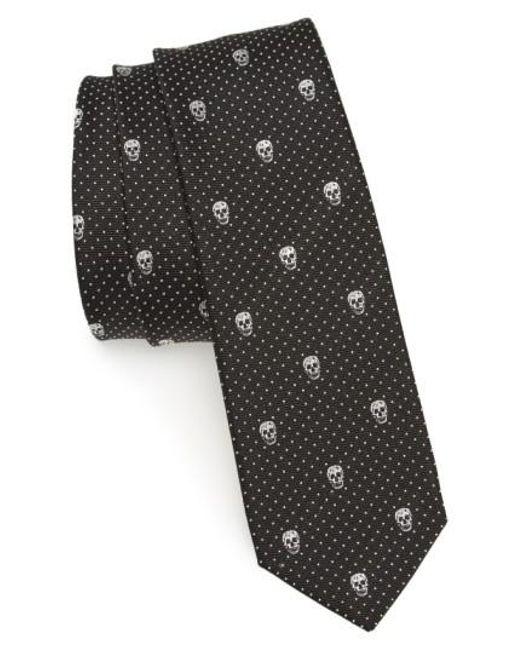 Alexander McQueen | Black Metallic Skull Silk Blend Tie for Men | Lyst