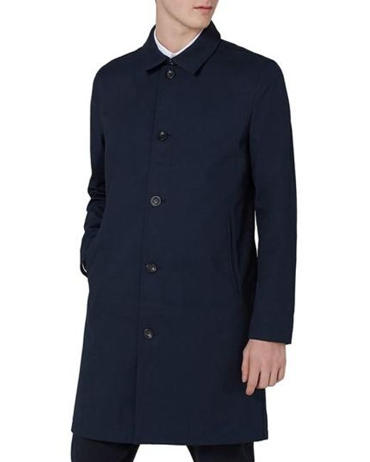 Topman - Blue Single Breasted Topcoat for Men - Lyst