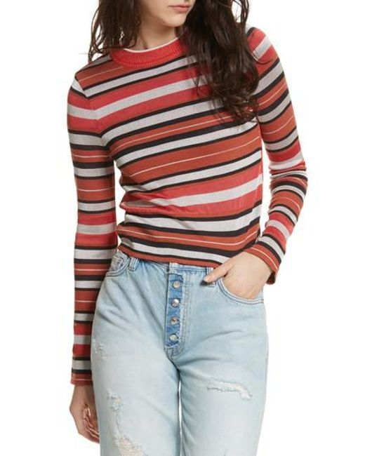 Free People - Pink New Age Crewneck Sweater - Lyst