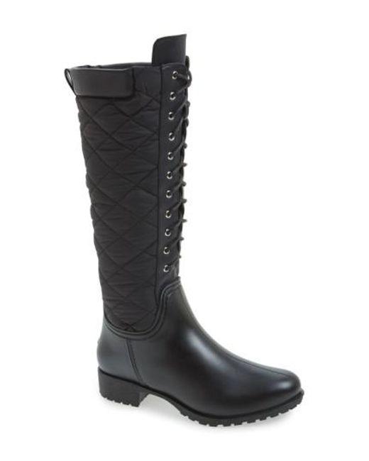 DAV Women's 'Tofino' Quilted Tall Waterproof Rain Boot