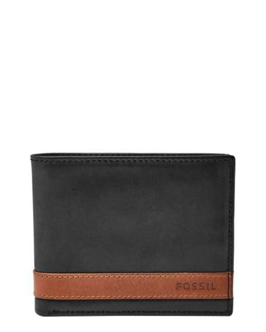 Fossil | Black 'quinn' Leather Bifold Wallet for Men | Lyst