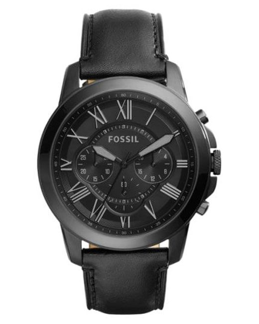 Fossil - Black 'grant' Chronograph Leather Strap Watch for Men - Lyst