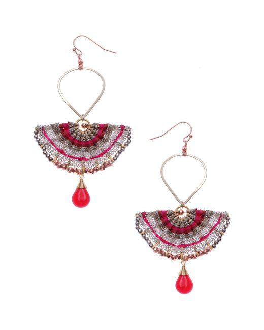 Nakamol Red Half Moon Drop Earrings