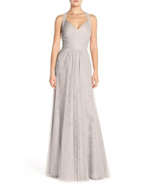 Monique Lhuillier Bridesmaids | Gray Sleeveless V-neck Tulle Gown | Lyst