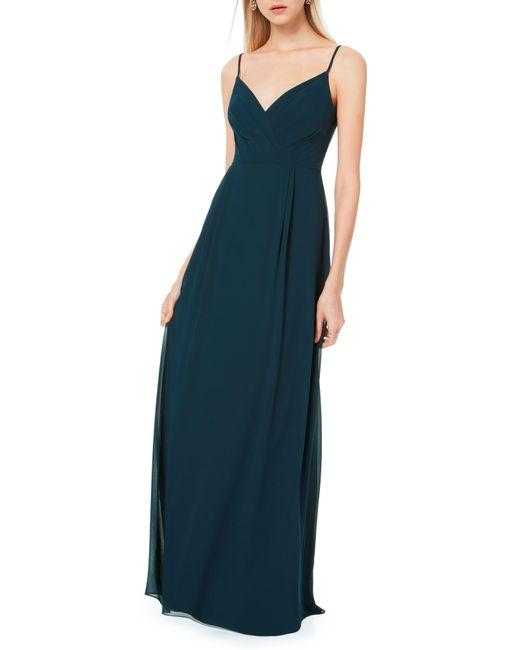 Levkoff Blue Pleated Bodice Chiffon Gown
