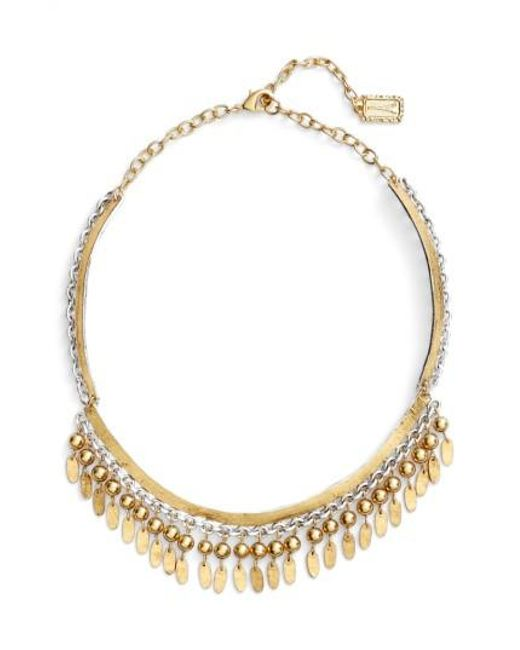 Karine Sultan - Metallic Fringe Collar Necklace - Lyst