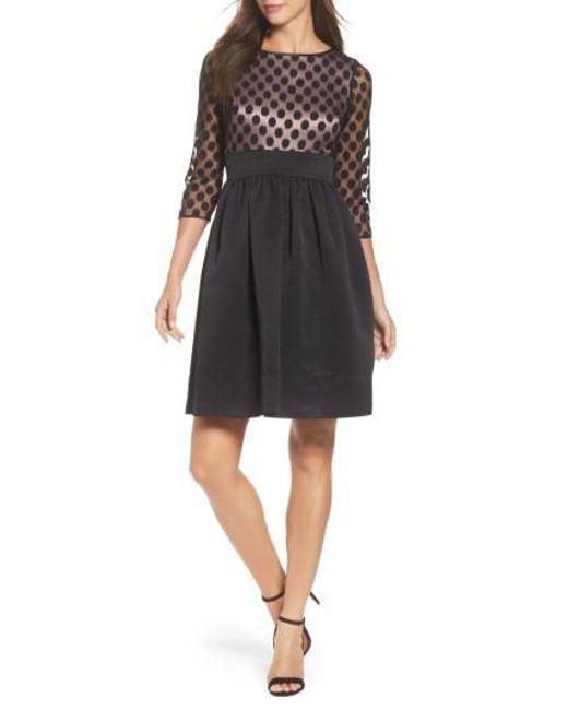 Eliza J   Black Dot Mesh Bodice Fit & Flare Dress   Lyst
