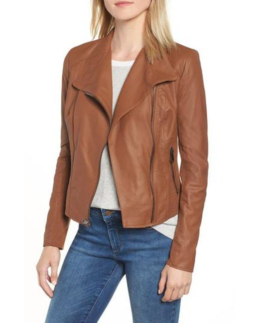 Andrew Marc - Brown Marc New York By 'felix' Stand Collar Leather Jacket - Lyst