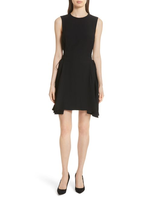 Theory - Black Lace-up Fit & Flare Dress - Lyst