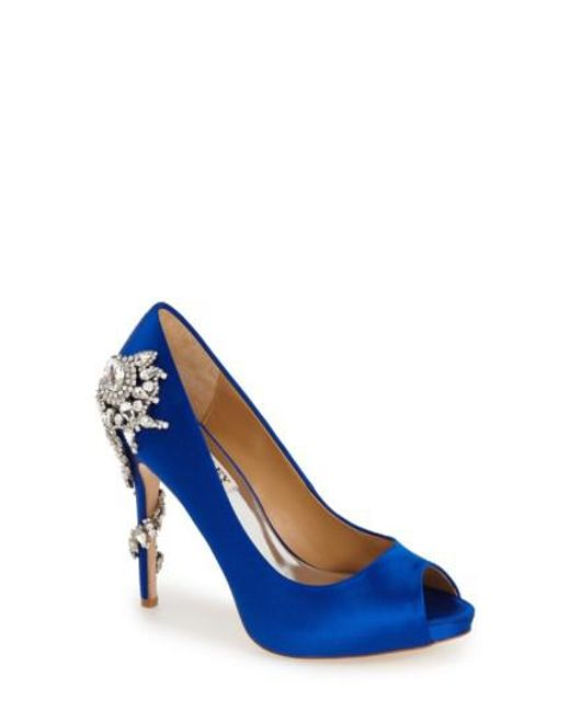 Badgley Mischka - Blue 'royal' Crystal Embellished Peeptoe Pump - Lyst
