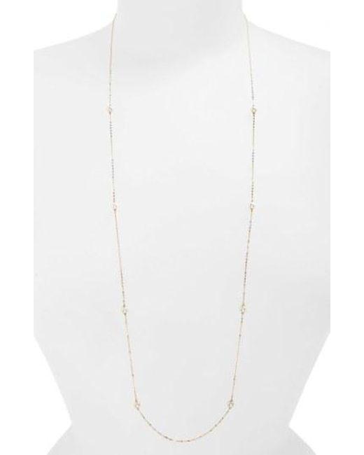 Nadri - Metallic Long Faux Pearl Station Necklace - Lyst