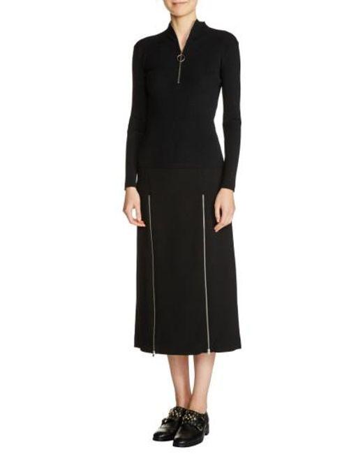 Maje | Black Zip Neck Ribbed Sweater | Lyst