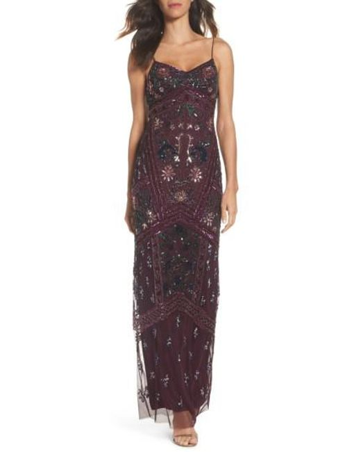 Adrianna Papell | Multicolor Floral Beaded Column Gown | Lyst