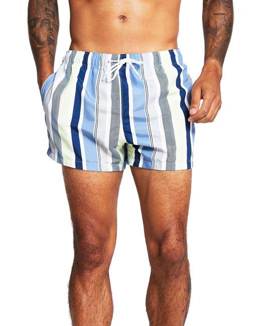 River Island White Stripe Texture Swim Trunks for men
