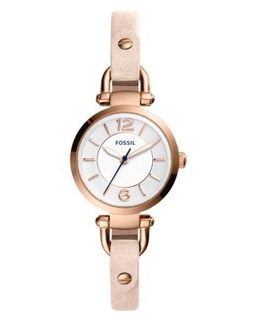 Fossil - Metallic 'small Georgia' Leather Strap Watch - Lyst
