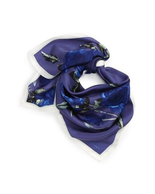 Vince Camuto | Blue Sepia Rose Square Silk Scarf | Lyst