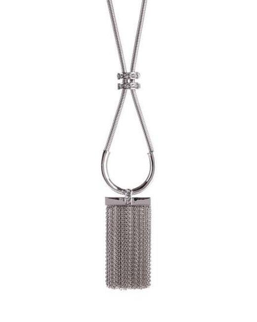 St. John | Metallic Swarovski Crystal Tassel Necklace | Lyst