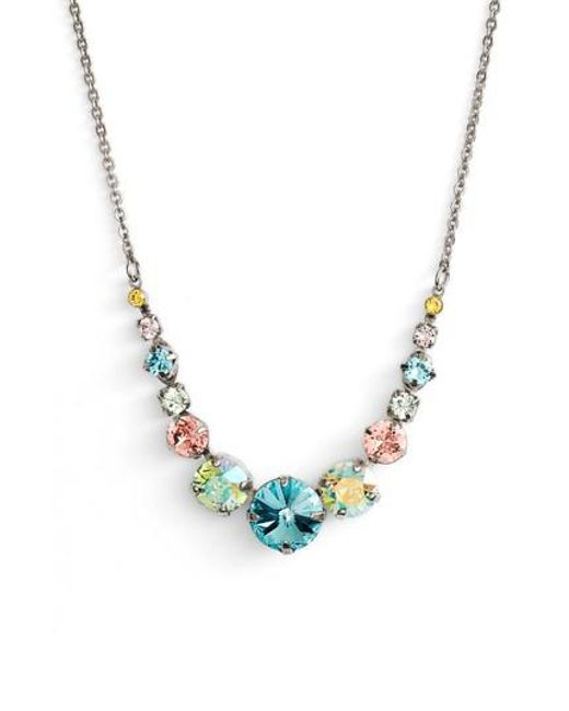 Sorrelli - Multicolor Delicate Round Crystal Necklace - Lyst