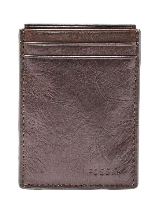 Fossil - Brown Neel Magnetic Leather Money Clip Card Case for Men - Lyst