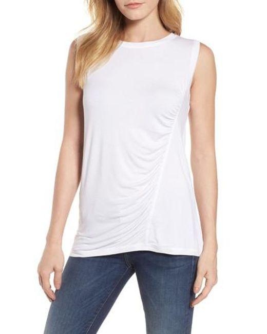 Caslon - White Caslon Off-duty Shirred Sleeveless Tee - Lyst