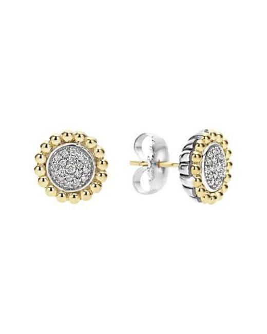 Lagos   Metallic Diamond Caviar Stud Earrings   Lyst