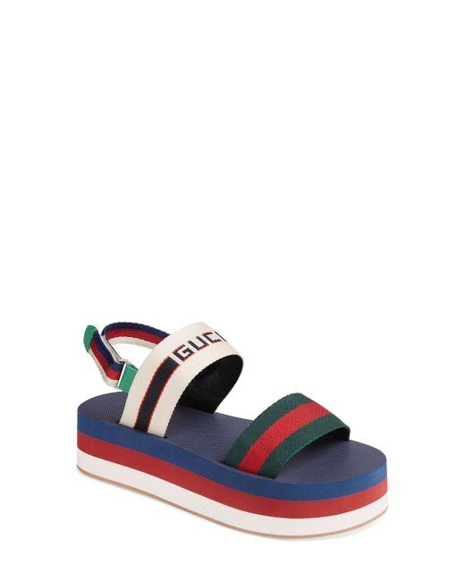 Gucci - Blue Bedlam Slingback Flatform Sandal - Lyst