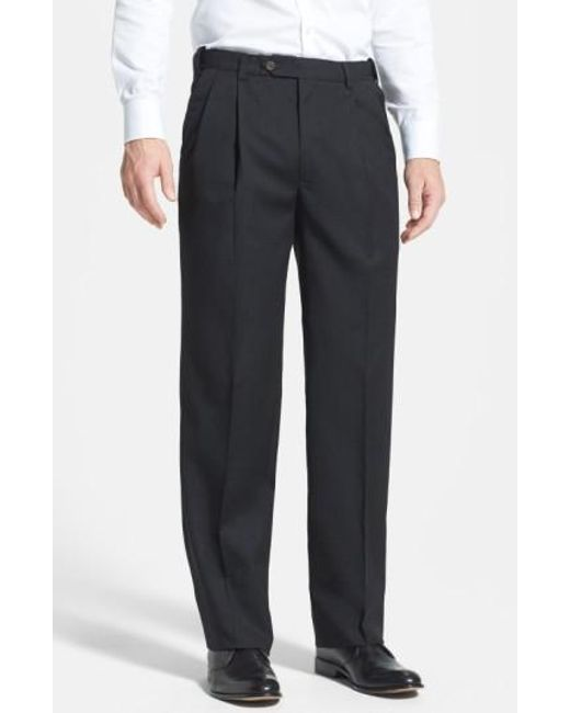 Berle | Gray Self Sizer Waist Pleated Wool Gabardine Trousers for Men | Lyst