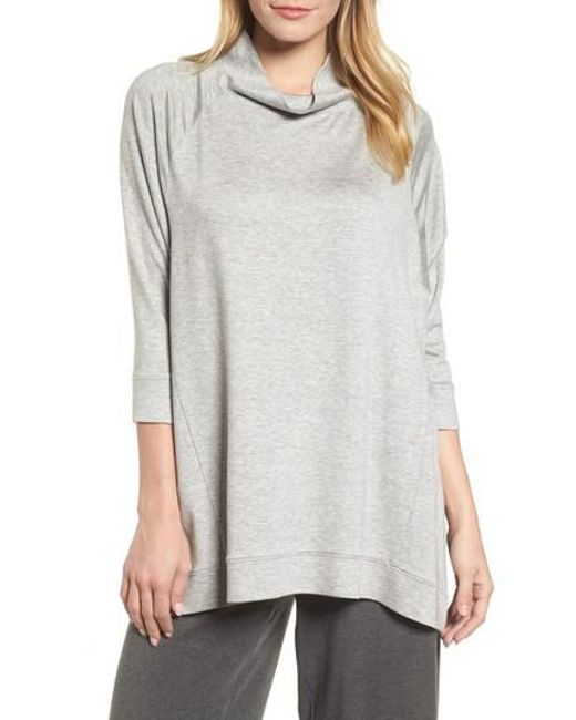 Eileen Fisher | Multicolor Funnel Neck Top | Lyst