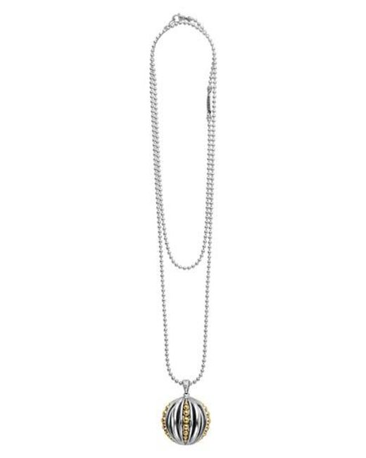 Lagos - Metallic Caviar Talisman Beaded Cage Ball Pendant Necklace - Lyst