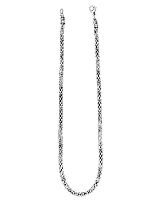 Lagos Metallic Sterling Silver 4mm Caviar Chain Necklace