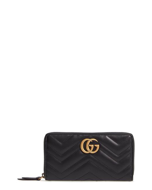 Gucci Black Gg Marmont 2.0 Zip Around Wallet