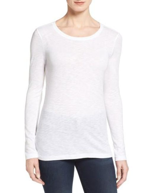Caslon - White Caslon Long Sleeve Slub Knit Tee - Lyst